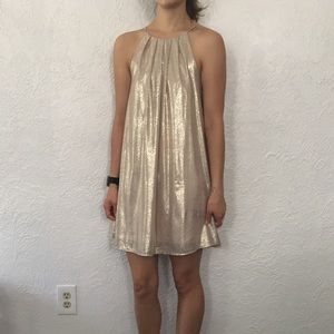 Lush Gold pleated party dress Sz Small
